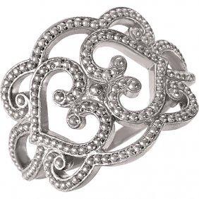 18kt White Granulated Design Ring