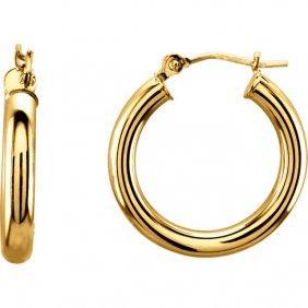 14kt Yellow 20mm Tube Hoop Earrings
