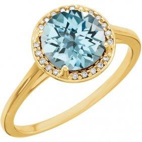 14kt Yellow Sky Blue Topaz And .05ctw Diamond Ring