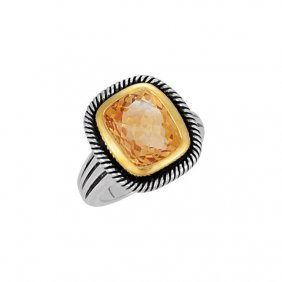 Sterling Silver Checkerboard Citrine Rope Design Ring