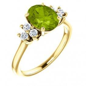 14kt Yellow Peridot & 1/4 Ctw Diamond Ring