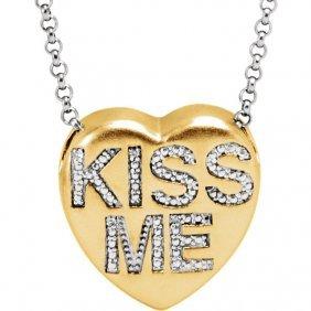 .02 Ctw Diamond Kiss Me Heart Necklace