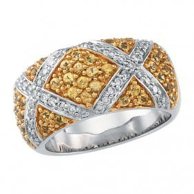 Yellow Sapphire & Diamond Accented Ring
