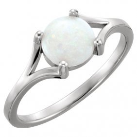 14kt White 7mm Round Opal Cabochon Ring
