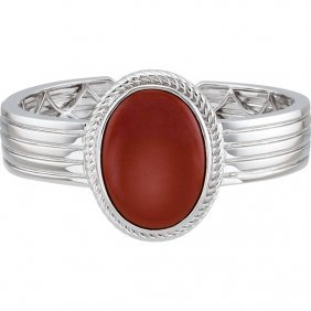Sterling Silver Red Jasper Hinged Cuff Bracelet