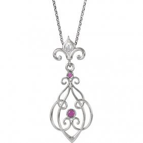 Sterling Silver Ruby & .01 Ctw Diamond 18 Necklace