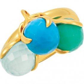 18kt Yellow Vermeil Multi-gemstone Ring Size 7
