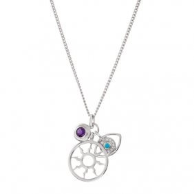 Sterling Silver Amethyst, Turquoise & Cubic Zirconia