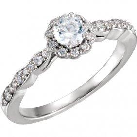 14kt White 1/2 Ctw Diamond Halo-styled Engagement Ring