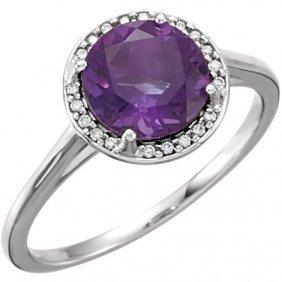 14kt White Amethyst & .05 Ctw Diamond Ring
