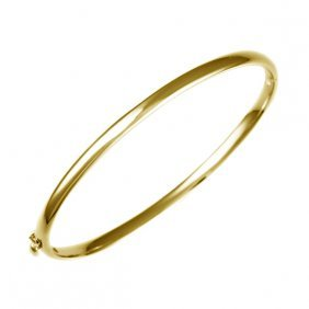 14kt Yellow Solid Bangle 4mm