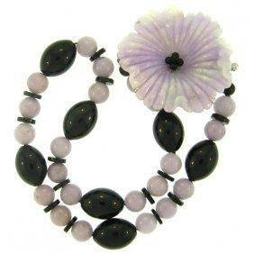 Natural Lavender Black Mix Jade Necklace