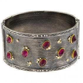 Silver Bangle 14kt-gold/ruby 34mm