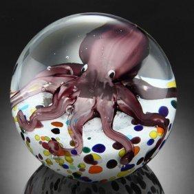 Art Glass Octopus Sphere / Paperweight