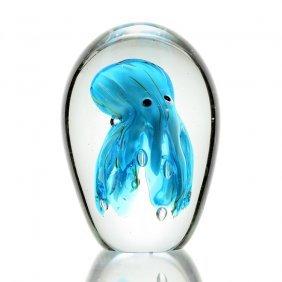 Art Glass Deep Blue Octopus