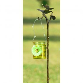 Dragonfly Garden Stake With Amber Glass