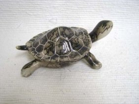Native American Made Ceramic Horsehair Turtle Lidded