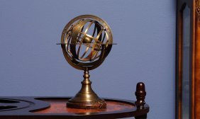 Armillary Sphere On Wood Base