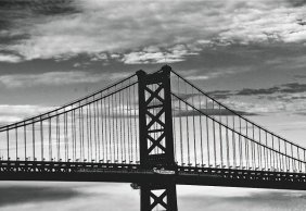 Erin Clark. Benjamin Franklin Bridge (b/w)