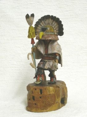 Native American Hopi Carved Ahola Chief Katsina Doll