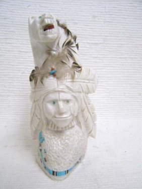 Native American Navajo Carved Marble Totem With Warrior