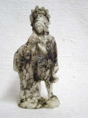 Native American Made Ceramic Horsehair Indian Chief And
