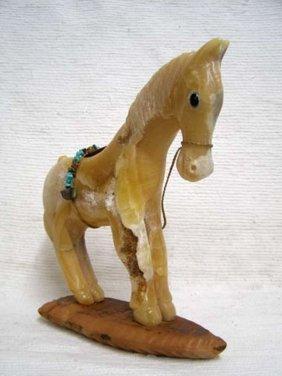 Native American Apache Carved Yellow Onyx Pony