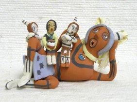 Native American Jemez Made Red Stripe Clown Storyteller