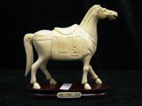 Hand Carved Bone Saddled Tang Horse