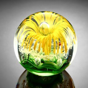 Yellow Flower Sphere / Paperweight