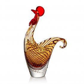 Art Glass Rooster Bowl