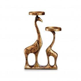 Abstract Giraffe Pair Pillar Candleholder