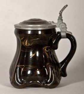 Swirl Design Ceramic Covered Stein With Pewter Rim