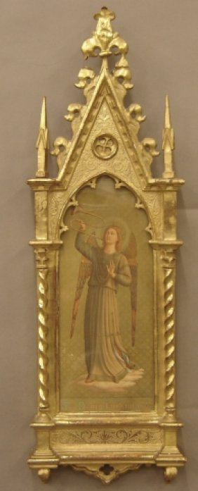 Pair Of Carved Gothic Form Gilt Wood Frames