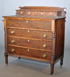 Massachusetts Country Sheraton Chest Of Drawers. Th