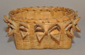 Oval Indian Splint Sewing Basket C. 1890. Length: 1