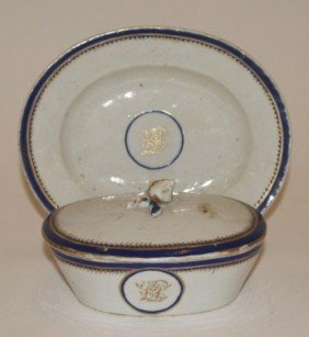 Chinese Export Oval Covered Dish And Under Plate.