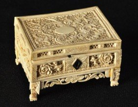 Chinese Export Ivory Reticulated Small Locking Box,