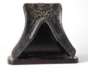 Chinese Gilt Steel Saddle Pommel