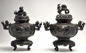 Pair Of Chinese Bronze Covered Urns