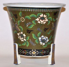 Rare Japanese Cloisonn� On Ceramic Footed Planter