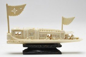 Early 20th Century Carved Japanese Ivory Boat