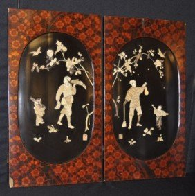 Pair Of Chinese Panels With Raised Ivory