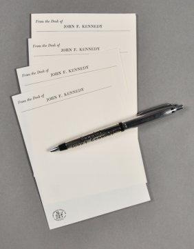 1954-Sen. J.F.K. Sterling Pen W/ Memo Paper