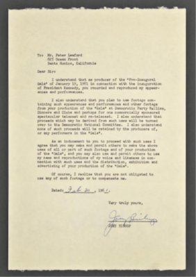 Joey Bishop Signed Letter Of Release