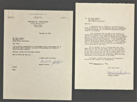 Mahalia Jackson Signed Letter And Note