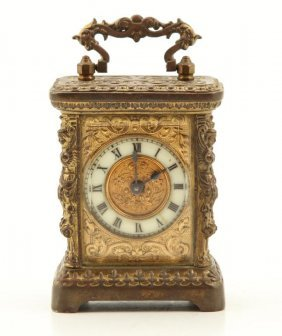 Gilt Brass Miniature Carriage Clock