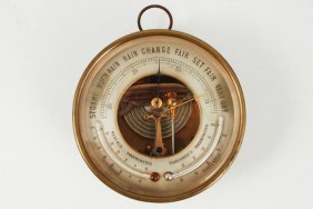 Brass Wall Thermometer / Barometer