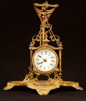 Hanging Brass Carriage Clock With Stand 1878