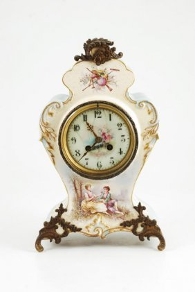 French Porcelain Mantle Clock